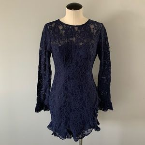 NWT Angel Biba Long Sleeve Floral Sheer Navy Dress